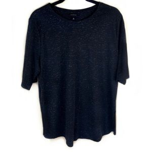 Who What Wear Black & Gold Glitter Speck Tee